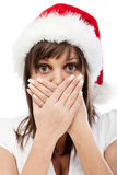 Young woman with santa cap Stock Photography