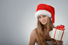 Young woman in santa claus Royalty Free Stock Photos