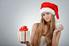 Young woman in santa claus Royalty Free Stock Image