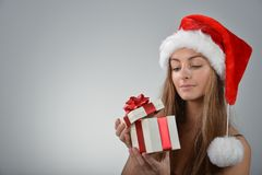 Young woman in santa claus Royalty Free Stock Photography