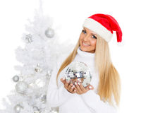 Young woman in Santa Claus cap Stock Photography