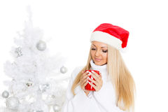 Young woman in Santa Claus cap. Royalty Free Stock Photography