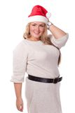 Young woman in Santa Claus cap. Stock Photography