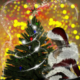 Young woman in Santa Claus clothes over Christmas background Royalty Free Stock Photography