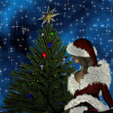 Young woman in Santa Claus clothes over Christmas background Stock Photo