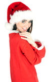 Young woman in Santa clothes and hat Stock Photography