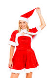 Young woman in Santa costume Stock Photo