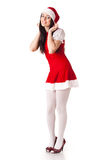Young woman in Santa costume. Christmas. Royalty Free Stock Photography