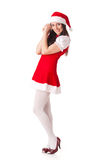 Young woman in Santa costume. Christmas. Royalty Free Stock Photos