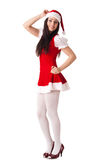 Young woman in Santa costume. Christmas. Royalty Free Stock Images