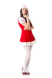 Young woman in Santa costume. Christmas. Stock Photo