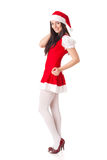 Young woman in Santa costume. Christmas. Royalty Free Stock Photo
