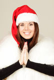 Young woman in santa hat Royalty Free Stock Photo