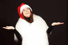 Young woman in santa hat Stock Photo