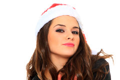 Young woman in santa hat Stock Photos