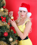 Young woman in Santa hat decorating Christmas tree over red Stock Image