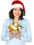 Young Woman in Santa Hat Holding Bowl of Cooked Mixed Vegetables. A DSLR royalty free image, young woman holding a bowl of cooked mixed vegetables, wearing a red royalty free stock photo