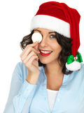 Young Woman in Santa Hat Holding Chocolate Money Stock Images