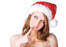 Young woman in santa hat portrait Royalty Free Stock Image