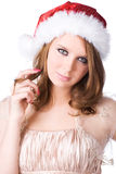 Young woman in santa hat portrait Stock Photos