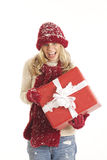 Young woman with Santa with holding present Royalty Free Stock Photography