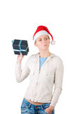 Young woman in Santa's hat Stock Photography