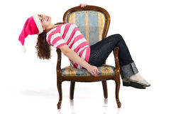 Young woman in santa`s hat Stock Image