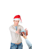 Young woman in santa's hat isolated Royalty Free Stock Image