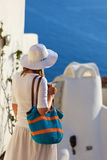 Young woman in Santorini, Greece Royalty Free Stock Photos