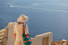 Young woman in Santorini, Greece Stock Photos