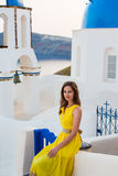 Young woman in Santorini island Royalty Free Stock Photo