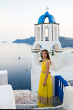 Young woman in Santorini island Royalty Free Stock Images