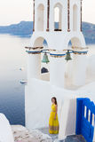 Young woman in Santorini island Stock Photos