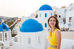 Young woman in Santorini island Stock Image