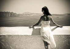 Young woman in Santorini,Thira Royalty Free Stock Image