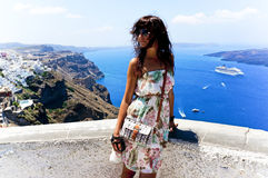 Young woman in Santorini,Thira Stock Images
