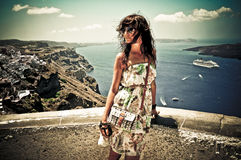 Young woman in Santorini,Thira Royalty Free Stock Photography