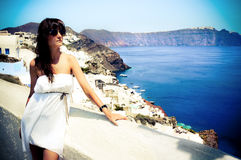 Young woman in Santorini,Thira Royalty Free Stock Photos