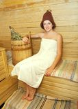 Young woman  at sauna Royalty Free Stock Photo