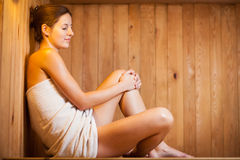 Young woman  in a sauna Royalty Free Stock Photo
