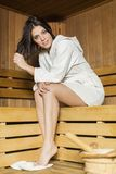 Young woman in the sauna Royalty Free Stock Photography