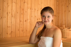 Young woman in sauna Stock Photo