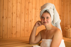Young woman in sauna Royalty Free Stock Images