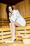 Young woman in the sauna Royalty Free Stock Images