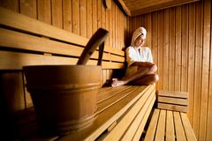 Young woman in the sauna Royalty Free Stock Photos