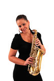 Young woman with saxophone. On white background Stock Photos