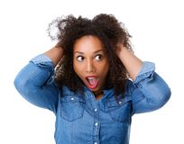 Young woman with scared expression Royalty Free Stock Photos