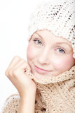 Young woman in scarf. Young woman in knitted scarf and hat Stock Photos