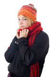 Young woman in scarf and cap. Winter portrait of a beautiful young woman with a cap and a scarf. Studio shot white background stock photos