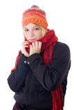Young woman in scarf and cap. Winter portrait of a beautiful young woman with a cap and a scarf. Studio shot white background stock image